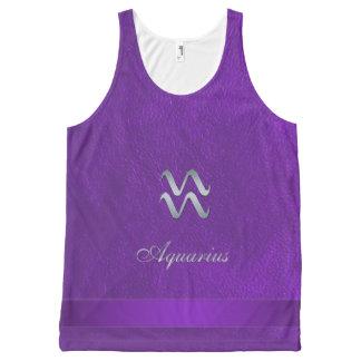 Purple Zodiac Sign Aquarius All-Over Print Tank Top