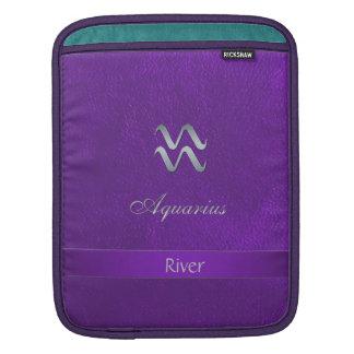 Purple Zodiac Sign Aquarius iPad Sleeve