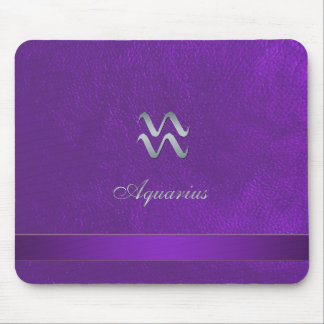 Purple Zodiac Sign Aquarius Mouse Pad