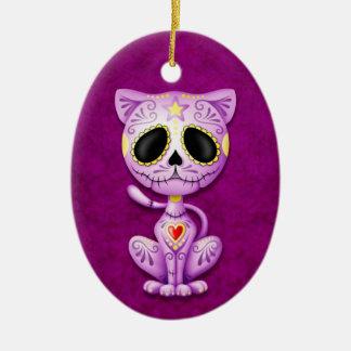 Purple Zombie Sugar Kitten Ceramic Ornament