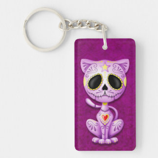Purple Zombie Sugar Kitten Acrylic Key Chain