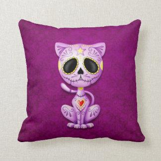 Purple Zombie Sugar Kitten Throw Pillow