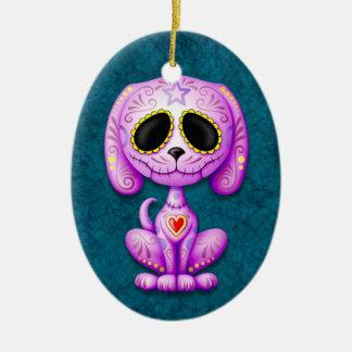 Purple Zombie Sugar Puppy Dog on Blue Christmas Ornament
