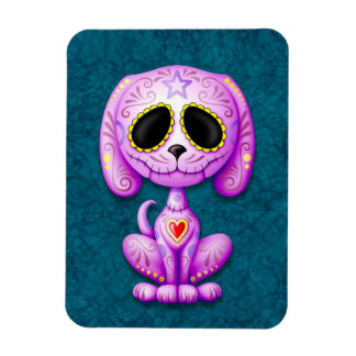 Purple Zombie Sugar Puppy Dog on Blue Rectangle Magnets