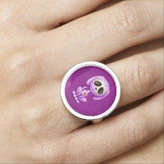 Purple Zombie Sugar Puppy Dog Ring