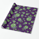 Purple zombies wrapping paper
