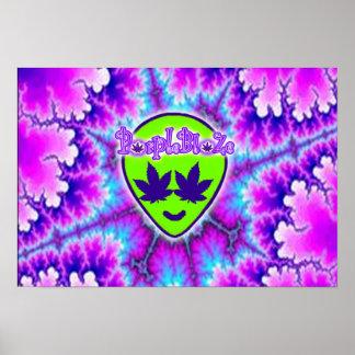 PurpleBlaZe alien head tyedye trippy poster