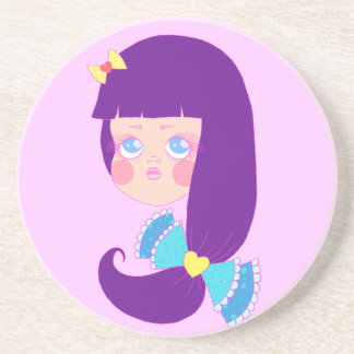 Purpled Haired Girl Beverage Coaster