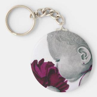 PurpleGirl1_flower Basic Round Button Keychain