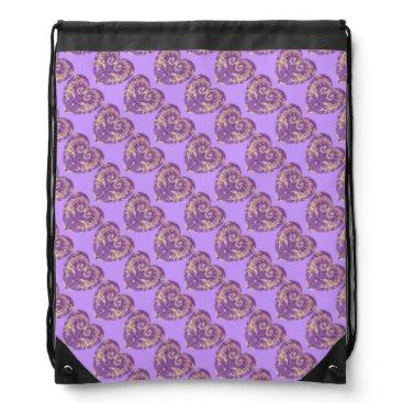 Beach Themed PurpleNGold BrocadeHeart Tiled Drawstring Backpack
