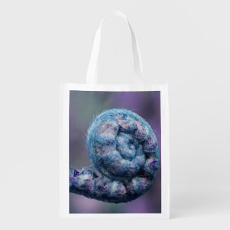 Purples and Blues Unfurling Fern Reusable Bag Grocery Bags