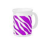 PurpleWhiteZebraStripes.jpg Beverage Pitcher