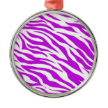 PurpleWhiteZebraStripes.jpg Christmas Ornaments