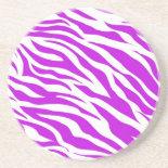 PurpleWhiteZebraStripes.jpg Drink Coaster