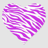 PurpleWhiteZebraStripes.jpg Heart Stickers