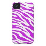 PurpleWhiteZebraStripes.jpg iPhone 4 Case