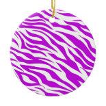 PurpleWhiteZebraStripes.jpg Christmas Tree Ornament