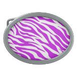 PurpleWhiteZebraStripes.jpg Oval Belt Buckle