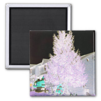 Purplish Glowing Christmas Tree Magnet