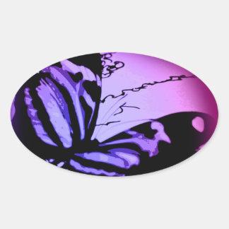 Purplish Pink Butterfly Oval Sticker