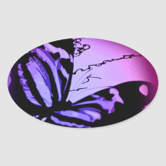 Purplish Pink Butterfly Oval Stickers