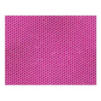Purplish pink octagonal honeycomb design postcard