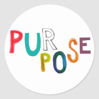 Purpose meaning use identity fun colorful word art classic round sticker