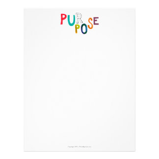 Purpose meaning use identity fun colorful word art letterhead