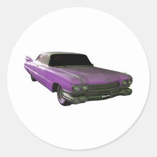 Púrpura 1959 de Cadillac Pegatina Redonda