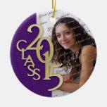 Púrpura 2015 de la foto de la graduación de la adorno navideño redondo de cerámica