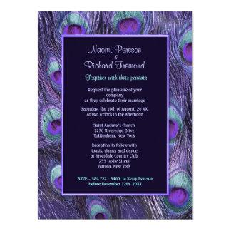 """Púrpura 6,5"""" de la pluma del pavo real invitación"""