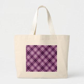 púrpura a cuadros bolsa tela grande