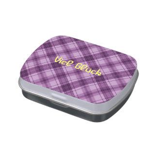 Púrpura a cuadros jarrones de caramelos