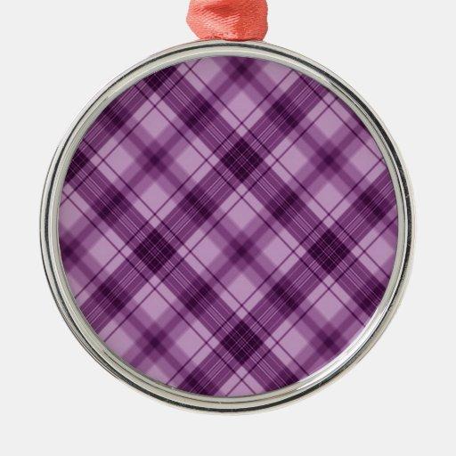 púrpura a cuadros ornamento para arbol de navidad