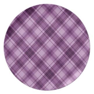púrpura a cuadros plato para fiesta