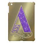 Púrpura A del monograma iPad Mini Coberturas