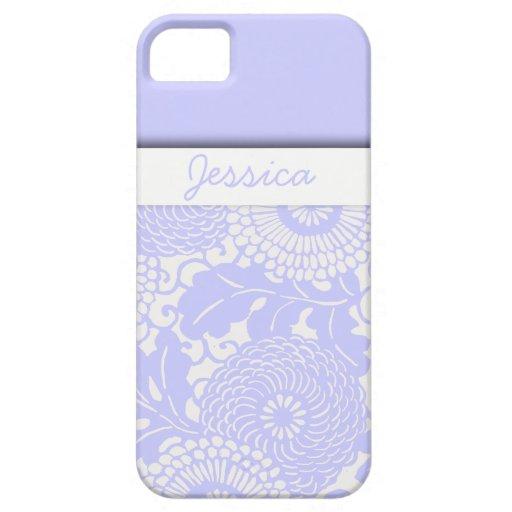 Púrpura abstracta del estampado de flores del funda para iPhone 5 barely there