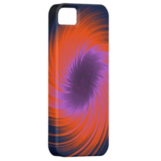 Púrpura abstracta y naranja del espiral del modelo iPhone 5 Case-Mate coberturas