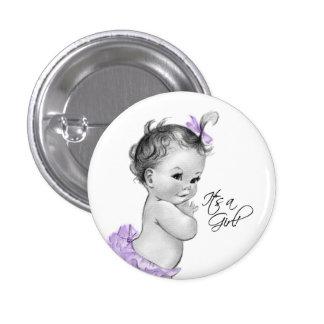 Púrpura adorable su un botón del chica pin redondo de 1 pulgada