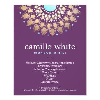 """Púrpura adornada del adorno del oro elegante del folleto 4.5"""" x 5.6"""""""