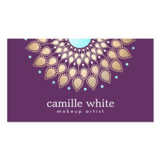 Púrpura adornada del adorno del oro elegante del tarjetas de visita