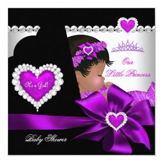 """Púrpura afroamericana del chica de la princesa invitación 5.25"""" x 5.25"""""""
