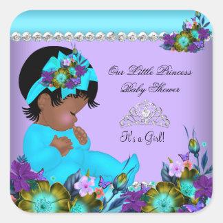 Púrpura afroamericana del trullo de la fiesta de pegatina cuadrada