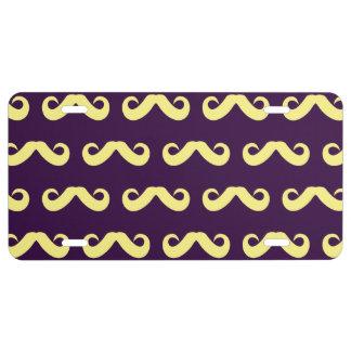 Púrpura amarilla del bigote placa de matrícula