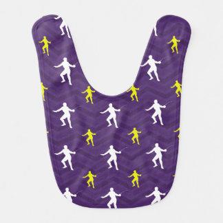 Púrpura, amarillo de oro, blanco, cercando Chevron Baberos Para Bebé