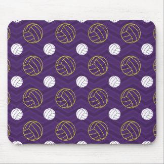 Púrpura, amarillo del oro, blanco, voleibol tapetes de ratón