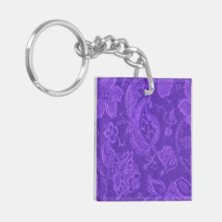 Púrpura Amethyst del brocado floral elegante del Llaveros