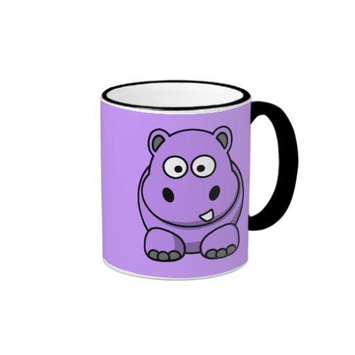 púrpura amistosa adorable linda del dibujo animado taza