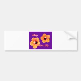 Púrpura anaranjada BG de madre del hibisco feliz d Etiqueta De Parachoque