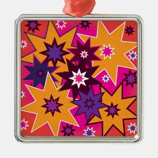 Púrpura anaranjada de estrella de la diversión del adorno navideño cuadrado de metal